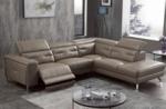 canapé d'angle avec un relax électrique en cuir de buffle italien de luxe 6 places revolax moka, angle droit,  pouf offert