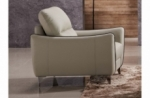 fauteuil 1 place en cuir italien buffle rivoli, beige et liseret chocolat