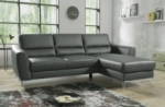canapé d'angle convertible en cuir italien de luxe 5 places santorin, avec coffre, gris foncé, angle droit