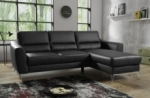 canapé d'angle convertible en cuir italien de luxe 5 places santorin, avec coffre, noir, angle droit