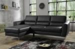 - canapé d'angle convertible en cuir italien de luxe 5 places santorin, avec coffre, noir, angle gauche