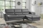 canapé d'angle convertible en cuir italien de luxe 5 places santorin, avec coffre, gris clair, angle droit
