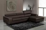 canapé d'angle en cuir buffle italien 5 places , sardaigne, couleur chocolat, angle droit;