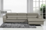 canapé d'angle en cuir buffle italien 5 places , sardaigne, couleur gris clair, angle droit;