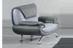 fauteuil 1 place en cuir italien sicilia, gris clair et gris foncé