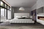 lit design en cuir italien de luxe silver, blanc, 180x200