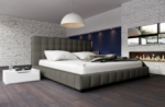 lit design en cuir italien de luxe silver, gris foncé, 140x190