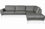 canapé d'angle en 100% tout cuir italien de prestige 6/7 places spania, gris, angle droit