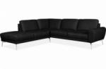 canapé d'angle en 100% tout cuir italien de prestige 6/7 places spania, noir, angle gauche