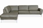 canapé d'angle en 100% tout cuir italien de prestige 6/7 places spania, taupe, cuir uni, angle gauche