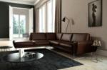 canapé d'angle en 100% tout cuir italien de prestige 6/7 places spencer, chocolat, angle gauche