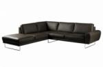 canapé d'angle en 100% tout cuir italien de prestige 6/7 places spencer, noir, angle gauche