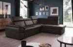 canapé d'angle convertible en cuir italien de luxe 5/6 places tony, avec coffre, chocolat, angle droit