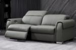 canapé 3 places avec 2 relax électriques en cuir italien buffle toprelax, gris foncé