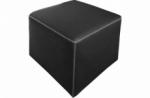 pouf carré buffalo en cuir de buffle (gamme de cuir de buffle), noir
