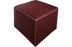 pouf carré buffalo en cuir de buffle (gamme de cuir de buffle), bordeaux