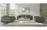 ensemble canapé 3 places et 2 places et fauteuil 1 place en cuir italien buffle vega, gris foncé avec surpiqure gris clair