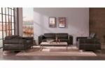 ensemble canapé 3 places et 2 places et fauteuil 1 place en cuir italien buffle vega, chocolat avec surpiqure blanche