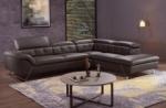 canapé d'angle en cuir de buffle italien de luxe 5/6 places, vida, chocolat, angle droit