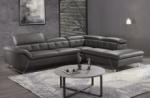 canapé d'angle en cuir de buffle italien de luxe 5/6 places, vida, noir, angle droit