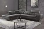 canapé d'angle en cuir de buffle italien de luxe 5/6 places vida, noir, angle gauche
