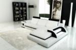 canapé d'angle 6 places ibiza, coloris blanc et noir, angle droit