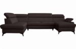 canapé d'angle convertible en cuir italien de luxe 7/8 places warini avec coffre, chocolat, angle gauche