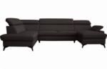 canapé d'angle convertible en cuir italien de luxe 7/8 places warini avec coffre, noir, angle gauche