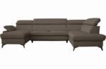 canapé d'angle convertible en cuir italien de luxe 7/8 places warini avec coffre, taupe, angle droit