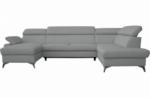 canapé d'angle convertible en cuir italien de luxe 7/8 places warini avec coffre, gris clair, angle droit