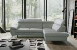 canapé d'angle convertible en cuir italien de luxe 5 places warren ii, avec coffre, gris clair, angle droit
