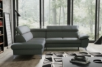canapé d'angle convertible en cuir italien de luxe 5/6 places warren ii, avec coffre, gris foncé, angle gauche