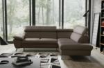 canapé d'angle convertible en cuir italien de luxe 5 places warren ii, avec coffre, taupe, angle droit