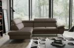 canapé d'angle convertible en cuir italien de luxe 5/6 places warren ii, avec coffre, taupe, angle gauche
