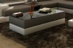 table basse design zeina, gris foncé et blanc.