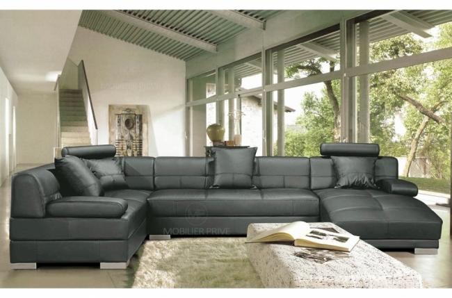 canapé d'angle 8 places napo, coloris gris foncé, angle gauche