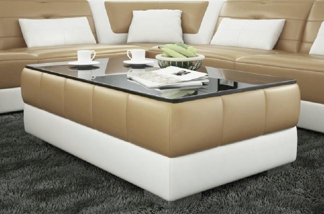 Table basse design zeina beige et blanc mobilier priv for Salon blanc et beige design