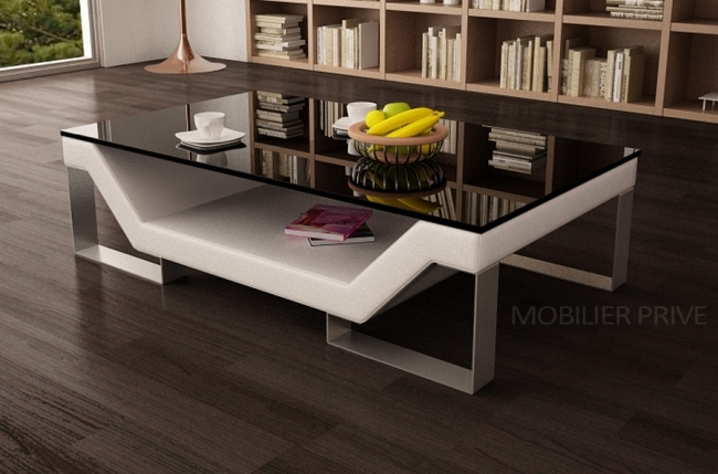 Table basse design perle blanc mobilier priv - Table basse design blanc ...