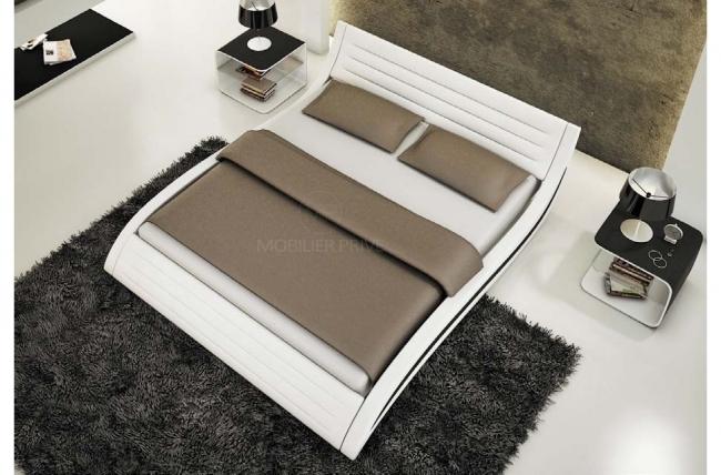 lit en cuir italien de luxe noctura, blanc