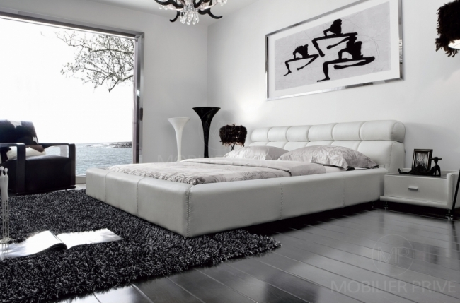 lit adulte en cuir de luxe mobilier priv. Black Bedroom Furniture Sets. Home Design Ideas