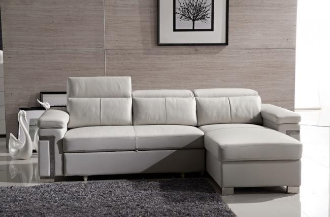 canapé d'angle convertible 5 places, allusion,  couleur blanc, angle droit