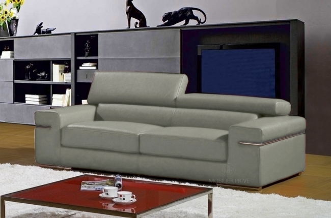 Canap mobilier priv for Canape cuir gris clair