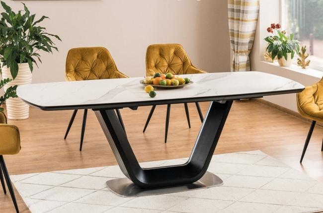 table à manger avec rallonge, luxe armen céramique blanc et noir