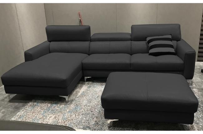 canap d 39 angle en cuir buffle italien de luxe 5 places armano noir angle gauche mobilier priv. Black Bedroom Furniture Sets. Home Design Ideas