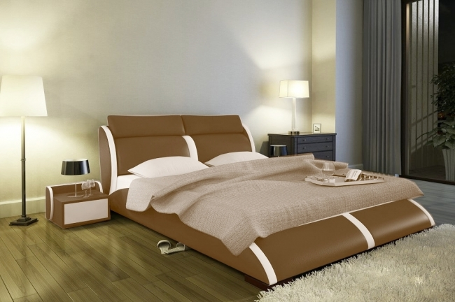 lit en cuir italien de luxe arthus marron et liseret cru mobilier priv. Black Bedroom Furniture Sets. Home Design Ideas