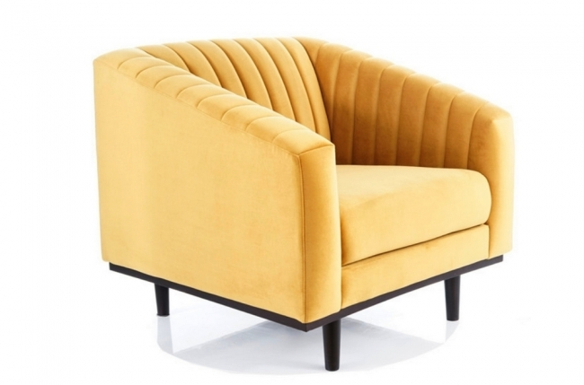 fauteuil asini 1 place en tissu de qualité, couleur curry