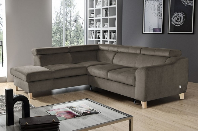 canapé d'angle convertible en tissu luxe 5 places, asteria  taupe, angle gauche