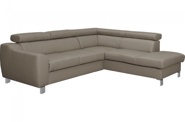 canapé d'angle en cuir italien de luxe 5 places astero, taupe, angle droit