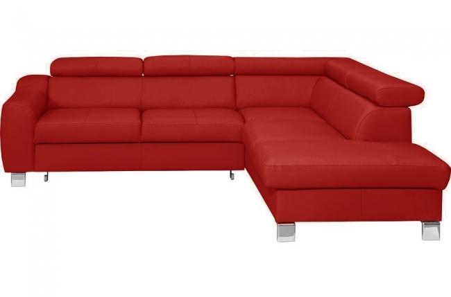 canapé d'angle convertible en cuir italien de luxe 5 places astrid, rouge foncé, angle droit