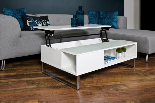 table basse design rglable en hauteur bois laqu blanc et verre azema - Table Basse Hauteur Reglable